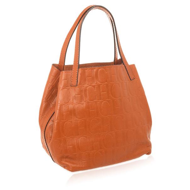 Carolina Herrera Burnt Orange Matryoshka Monogram Leather Tote