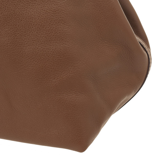 Carolina Herrera Brown Matryoshka Leather Tote