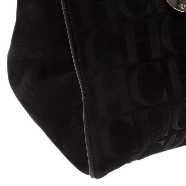 Carolina Herrera Black Monogram Leather Tote