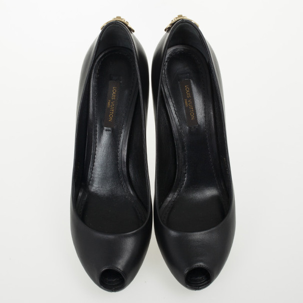 Louis Vuitton Black Leather Oh Really! Peep Toe Pumps Size 37