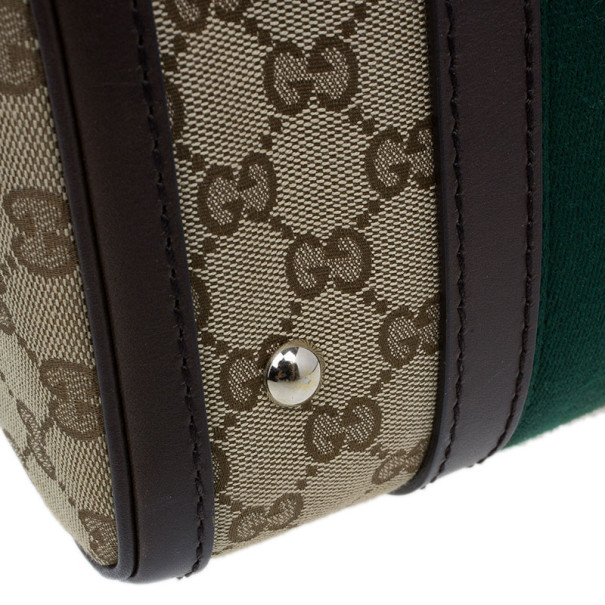 Gucci GG Canvas Web Detail Original Boston Bag