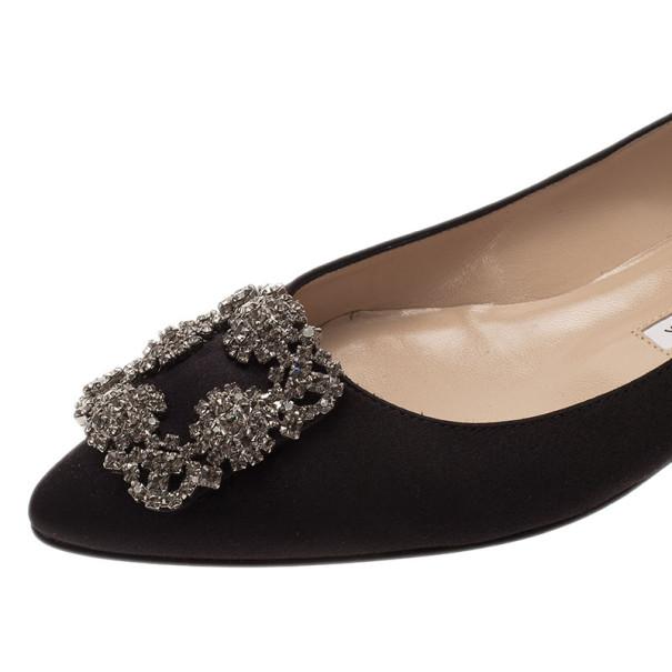 Manolo Blahnik Black Satin Hangisi Ballet Flats Size 38