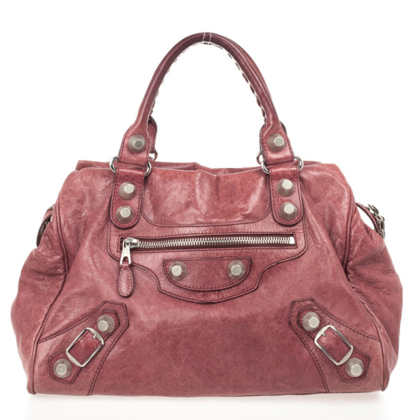 Balenciaga Pink Lambskin Leather Giant 12 Silver Town Bag