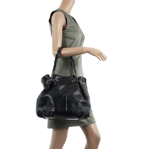 Tod`s Signature Medium Black Patent Leather Tote Bag