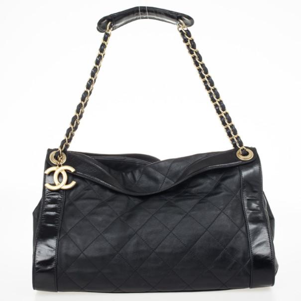 Chanel Black Lambskin Large Rue de Cambon Tote Bag