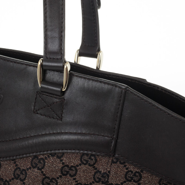 Gucci Monogram Medium Tote with Brown Leather Trim