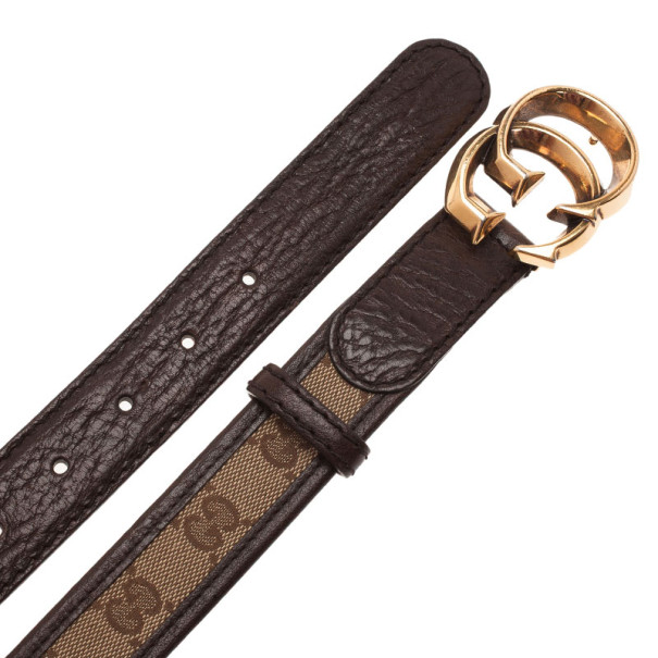 Gucci Guccissima Canvas and Leather GG Buckle Belt 90CM