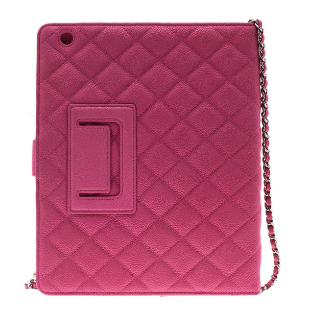 Chanel Pink Quilted Leather Crossbody iPad Case
