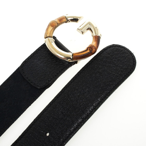 Gucci Black Guccissima Canvas G Bamboo Buckle Belt