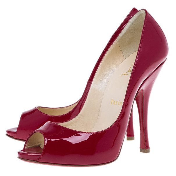 Christian Louboutin Red Patent Maryl Peep Toe Pumps Size 38
