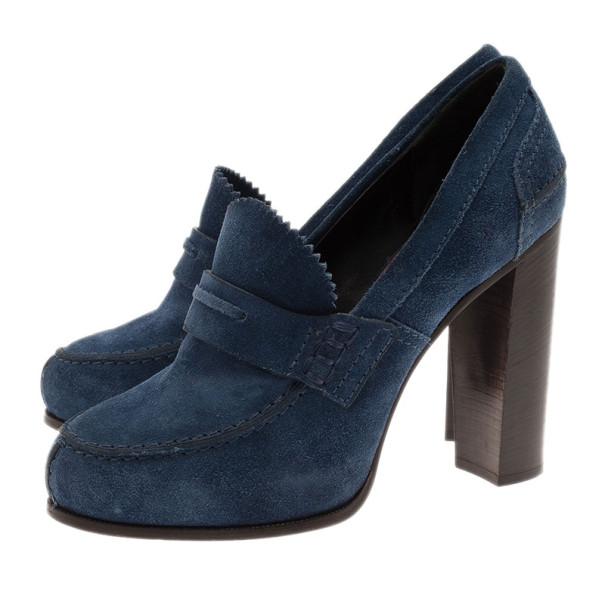 Celine Blue Suede Loafer Platform Pumps Size 38