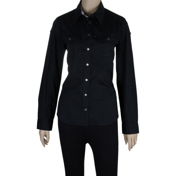 Burberry London Black Military Shirt M