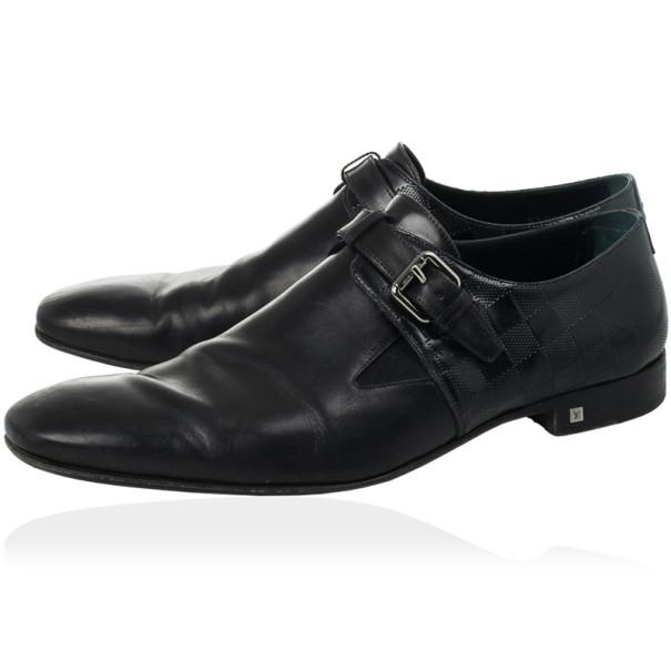 Louis Vuitton Black Leather Damier Embossed District Buckle Shoes Size 44.5
