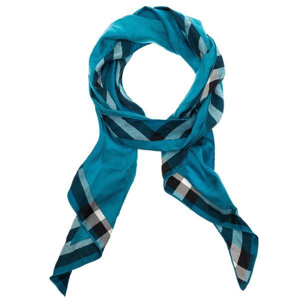 Burberry Blue Silk Novacheck Stole
