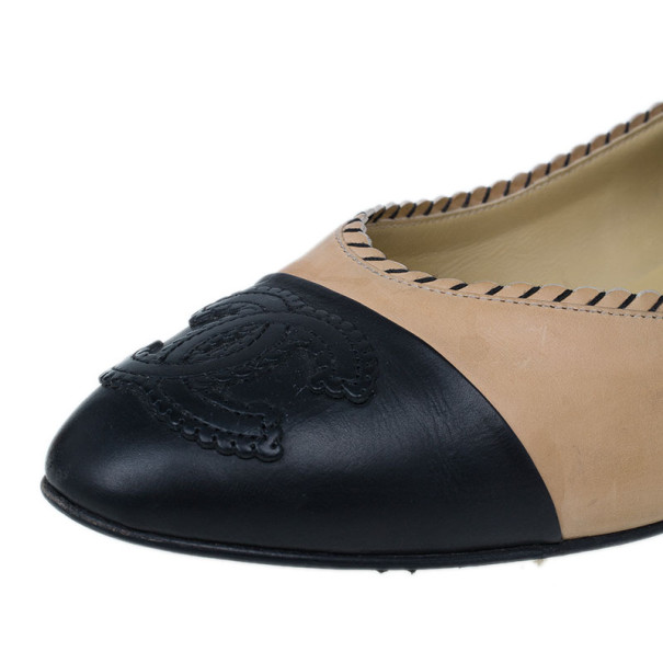 Chanel Peach and Black Cap Toe CC Ballet Flats Size 40.5