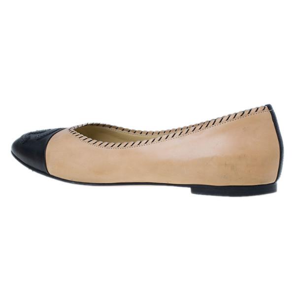 Chanel Peach and Black Cap Toe CC Ballet Flats Size 40.5
