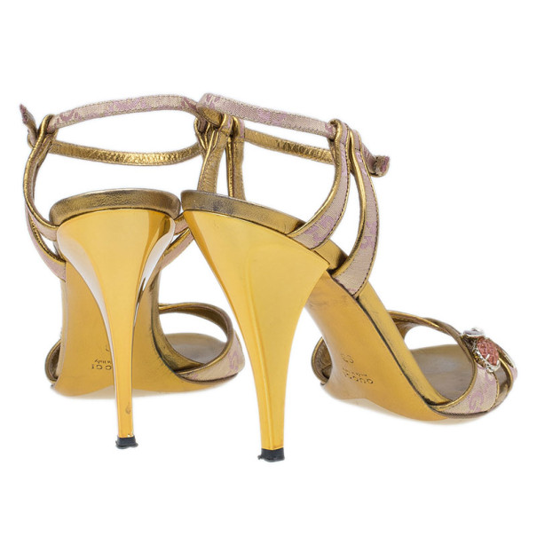 Gucci Begonia Rose GG Canvas Bee Jewel Sandals Size 40
