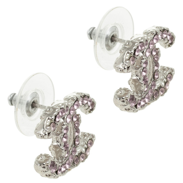 Chanel CC Logo Soft Pink Crystals Earrings