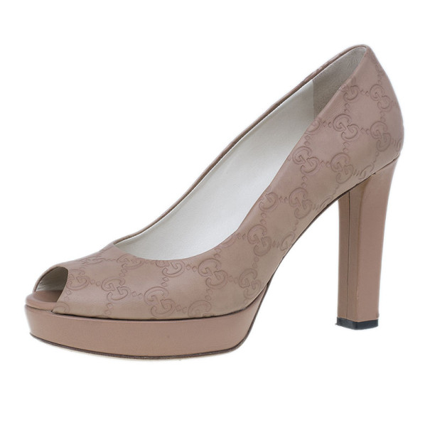 Gucci Beige Guccissima Leather Peep Toe Platform Pumps Size 39