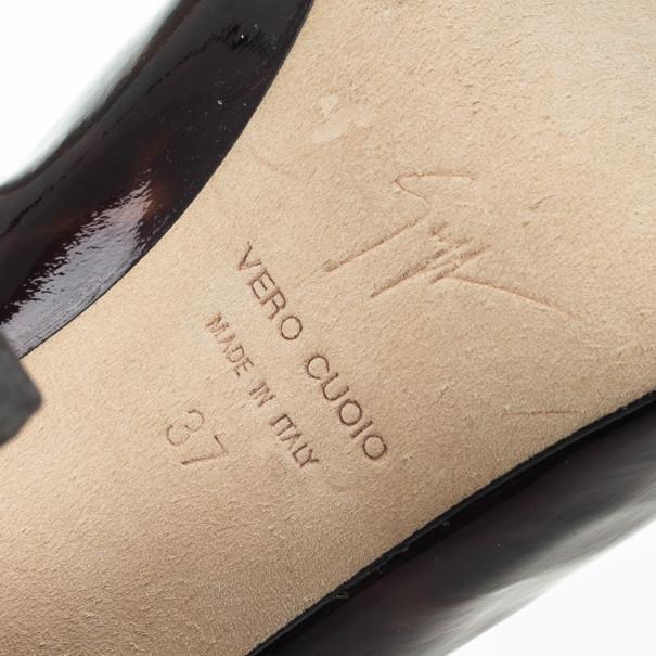 Giuseppe Zanotti Brown Tortoise Print Patent Platform Knee Length Boots Size 37
