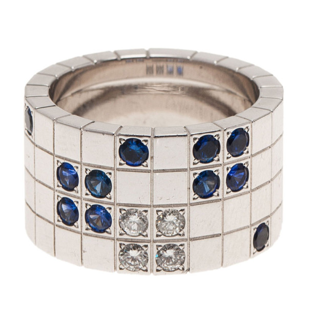 Cartier Lanieres Diamond and Sapphire White Gold Ring Size 54