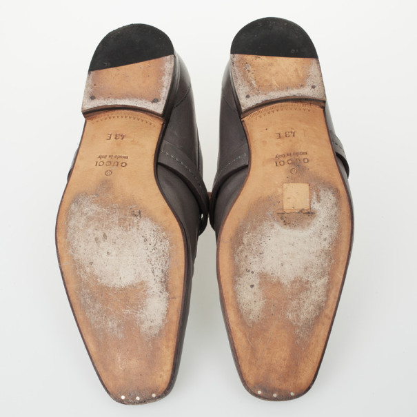 Gucci Grey Leather GG Loafers Size 43