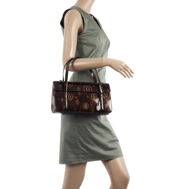 Cartier Brown Happy Birthday Cabochon Flap Bag