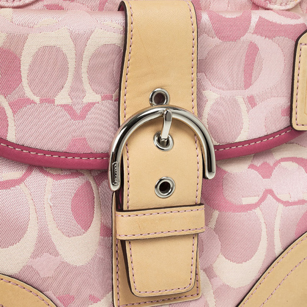 Coach Pink Monogram and Beige Leather Small Tote