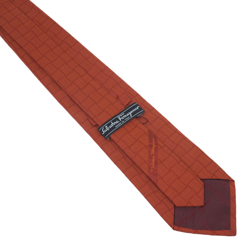 Salvatore Ferragamo Orange Silk Printed Tie