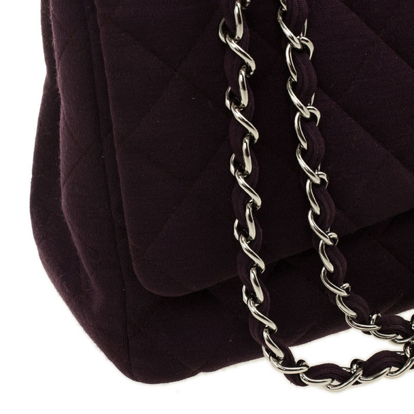 Chanel Purple Jersey Maxi Classic Flap Bag