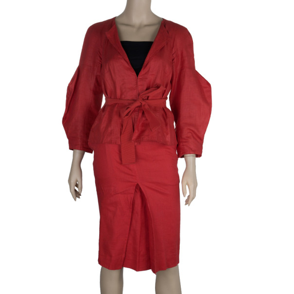 CH Carolina Herrera Linen Skirt Suit M