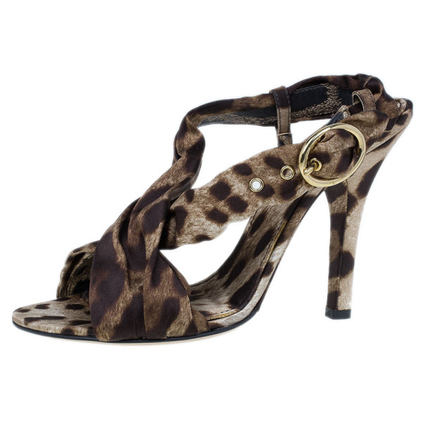 Dolce and Gabbana Leopard Print Silk Slingback Sandals Size 39
