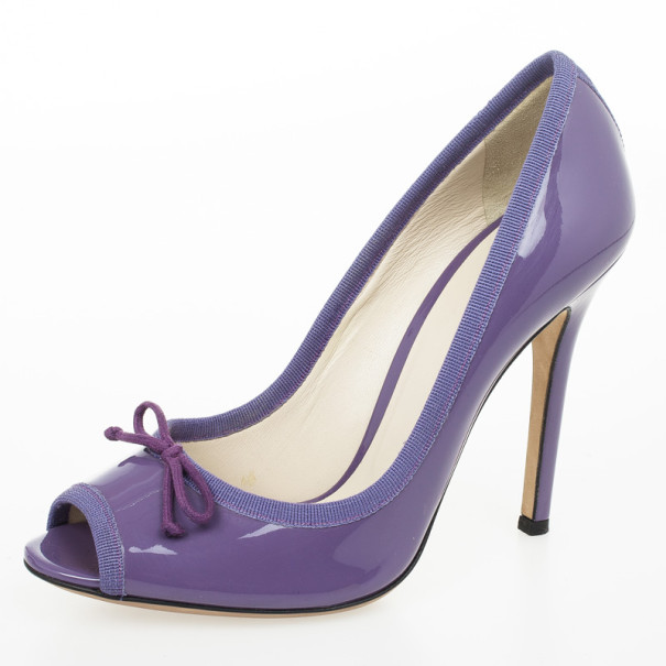 D&G Purple Patent Bow Peep Toe Pumps Size 38.5