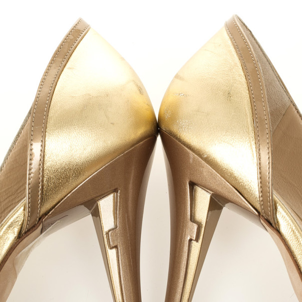 Fendi Gold Metallic Leather Bow Dórsay Pumps Size 39