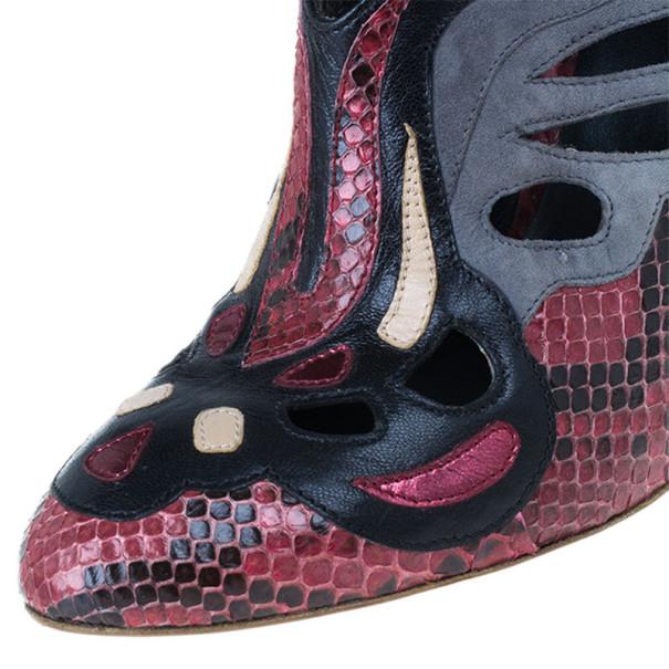 Miu Miu Red Python and Suede Cutout Booties Size 37