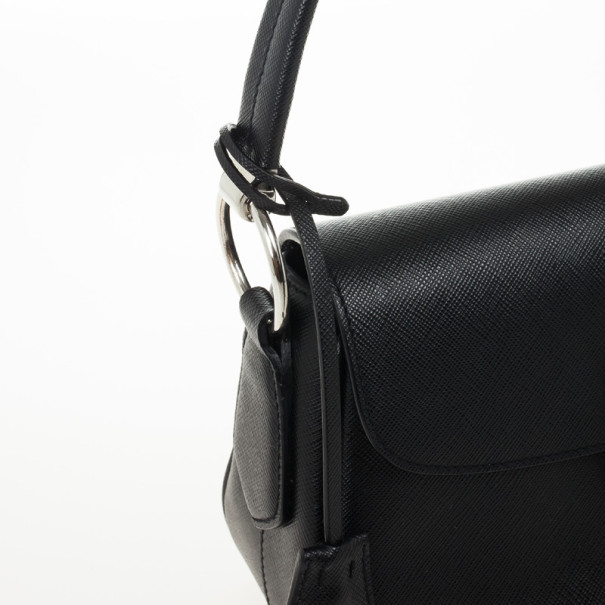 Prada Black Saffiano Leather Small Shoulder Bag