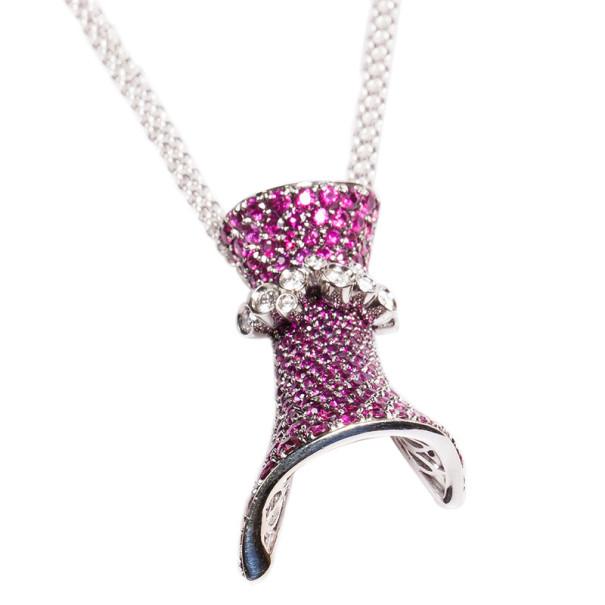 Stefan Hafner Fancy Rubies and Diamonds 18K White Gold Necklace