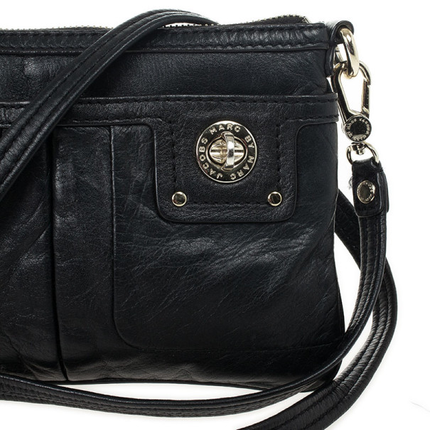 Marc by Marc Jacobs Black Leather Totally Turnlock Percy Crossbody Clutch