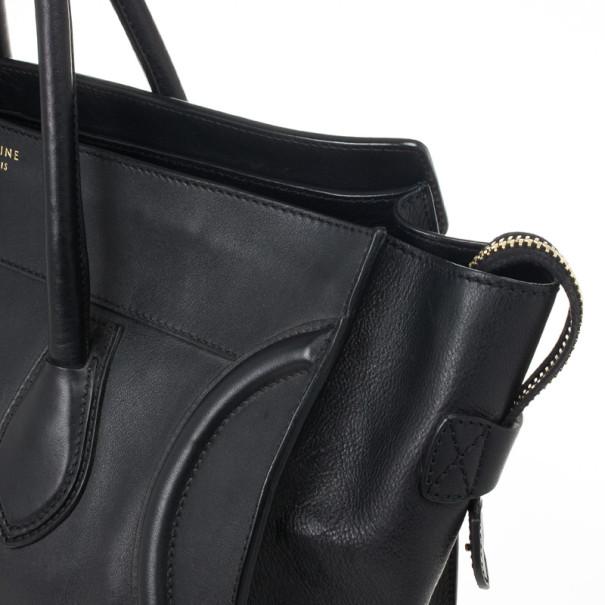 Celine Black Medium Grained Leather Luggage Tote