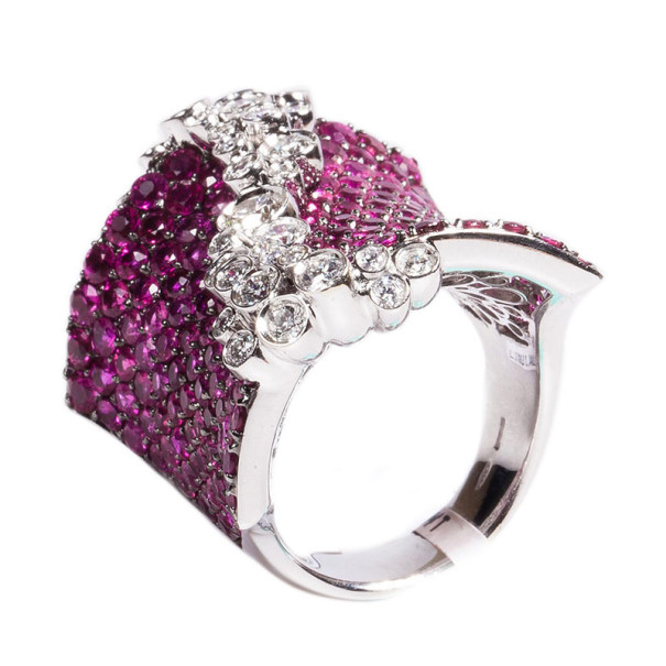 Stefan Hafner Fancy Rubies and Diamonds 18K White Gold Ring Size 54
