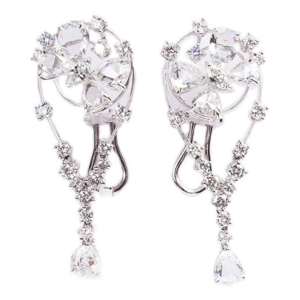 Stefan Hafner Butterfly Diamond 18K White Gold Earrings