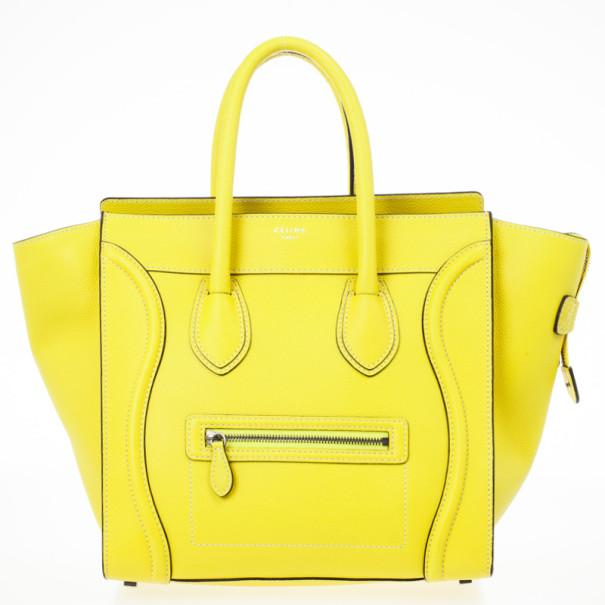 Celine Yellow Citron Mini Luggage Bag