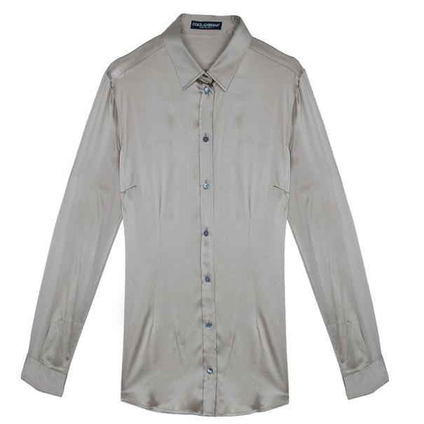 Dolce and Gabbana Champagne Silk Shirt M