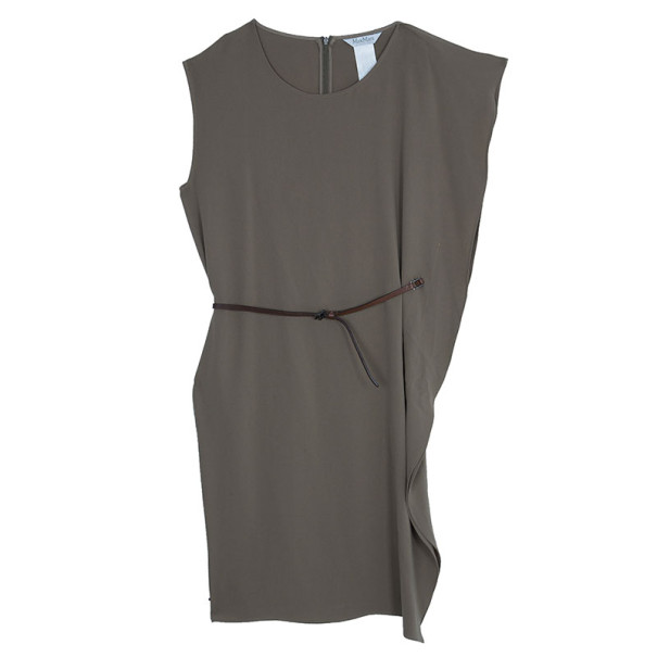 Max Mara Beige Belted Dress L