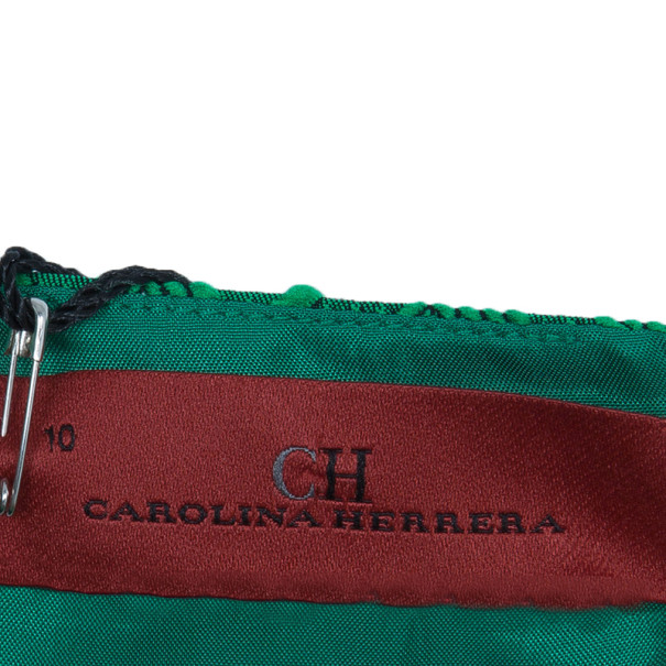 CH Carolina Herrera Green Jacquard Dress L