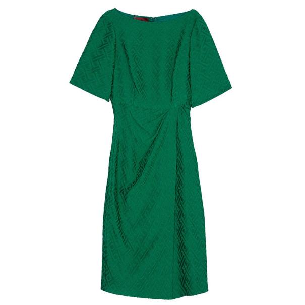 CH Carolina Herrera Green Jacquard Dress L