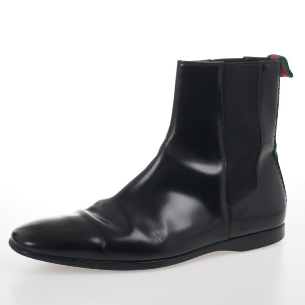 Gucci Black Leather Ankle Boots With Web Detail Size 43.5
