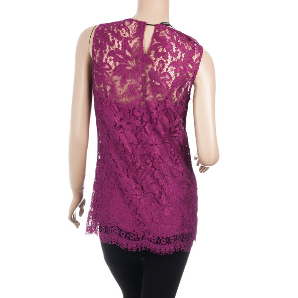 Dolce and Gabbana Fuschia Lace Top M