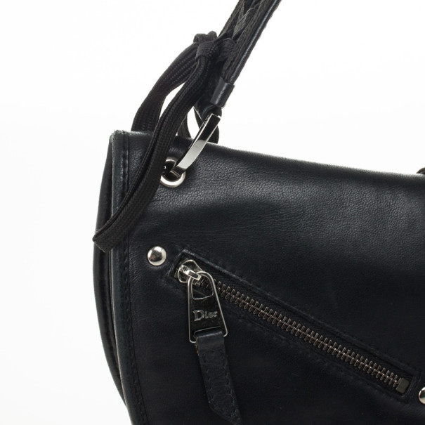Christian Dior Black Leather 'Admit It' Shoulder Handbag