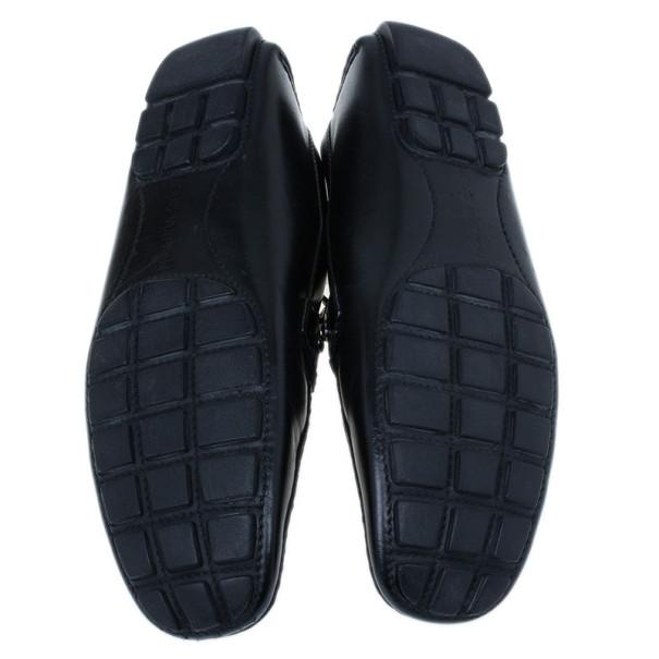 Louis Vuitton Black Leather Monte Carlo Moccasins Size 42.5